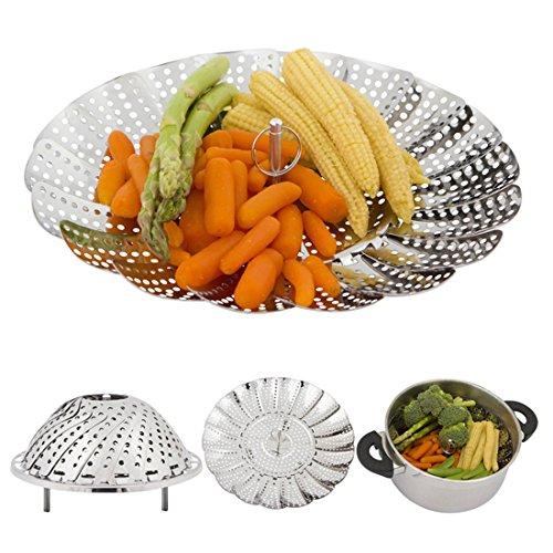 SuperB2C Vegetable Steamer Basket Stainless Steel Foldable Food Vegetable Steamers Basket Healthy Adjustable Steamer With Feet Stainless Steel S