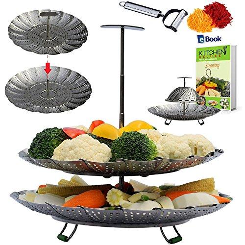 UNIQUE 2-TIER Vegetable Steamer Basket - EXTENDABLE HANDLE - 55-93 - Fits Instant Pot Pressure Cooker - 100 Stainless Steel - BONUS Accessories - eBook  Julienne Peeler - Steam Food Insert