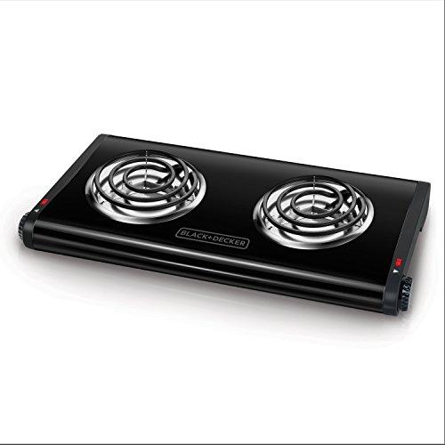 BLACKDECKER Double Burner Portable Buffet Range Black DB1002B