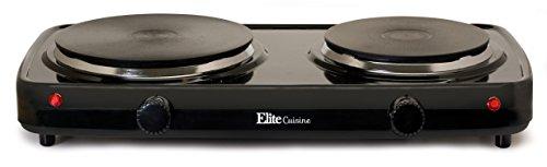 Elite Cuisine EDB-302BF Maxi-Matic Electric Double Buffet Burner with Dual Temperature Control Black