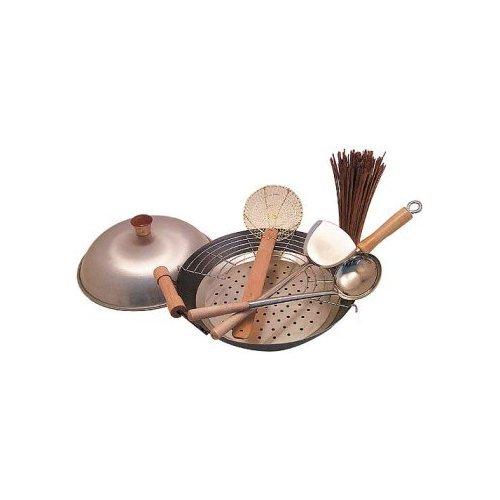 Carbon Steel Wok Set: Flat Bottom W/ Helper Handle. Wok Is Usa Made