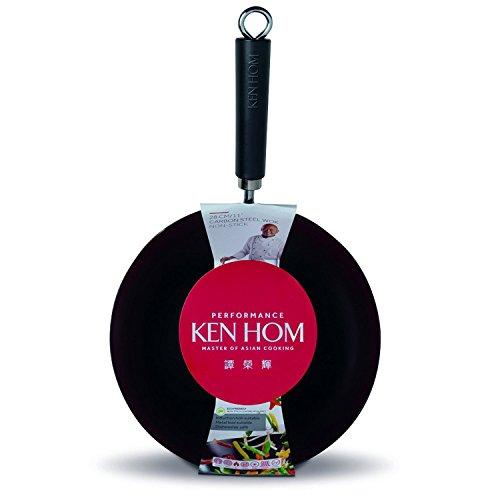 "Ken Hom Non-stick Carbon Steel Wok, 11"", Black"