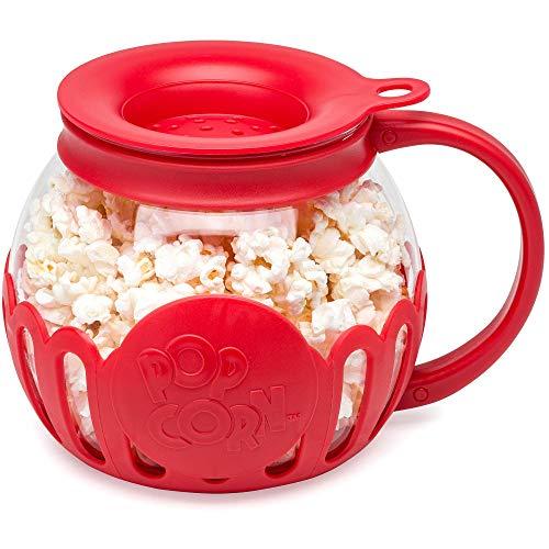 Ecolution Original Microwave Micro-Pop Popcorn Popper Borosilicate Glass 3-in-1 Silicone Lid Dishwasher Safe BPA Free 15 Quart Snack Size Red