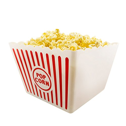 Novelty Place Plastic Red White Striped Classic Popcorn Containers for Movie Night - 8 Square x 7 Deep 1 Pack