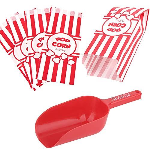 Poppys Popcorn Scoop and Popcorn Bags Bundle Nostalgic Popcorn Accessories for Popcorn Machine and Popcorn Bar Popcorn Scooper and Bags for CarnivalMovie NightCircus Party Supplies 50