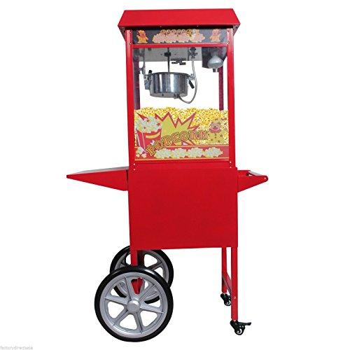 Safstar Popcorn Maker Machine Red Tabletop Popper Maker 8 Ounce Kettle Popper Popcorn Cart Popper Machine with Cart