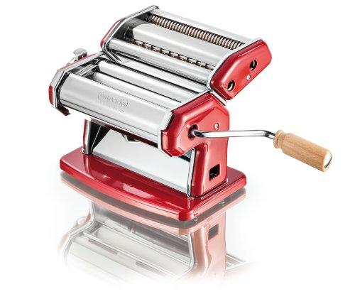 """Imperia: """"la Rossa"""" Chromed Steel Pasta Machine, Red [ Italian Import ]"""