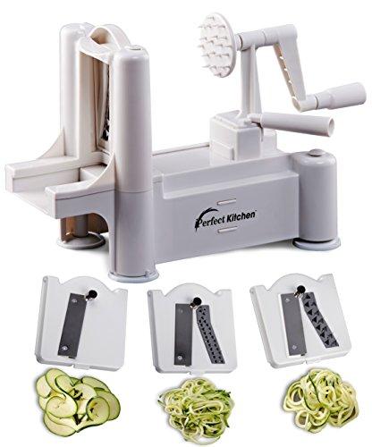 Iperfect Kitchen Tri-blade Vegetable Spiralizer, Envy Spiral Slicer - Zucchini Spaghetti Pasta Maker