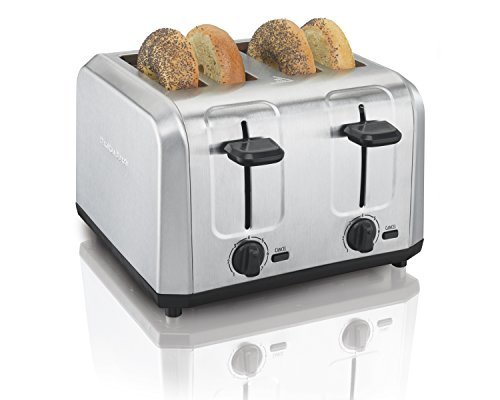 Hamilton Beach Brushed Stainless Steel 4-Slice Extra-Wide Toaster with Shade Selector Toast Boost Slide-Out Crumb Tray Auto-Shutoff and Cancel Button 24910