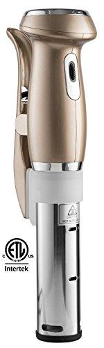 Gourmia GSV130 Digital Sous Vide Machine Pod Immersion Circulator Precision Cooker – Powerful 1200 Watts Motor - Digital Timer Display - Bronze - Includes Free Recipe Cookbook