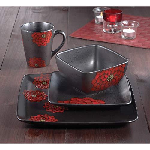 Red 16-Piece Dinnerware Set Floral Casual Modern Contemporary Round Ceramic 16 Piece Microwave Safe