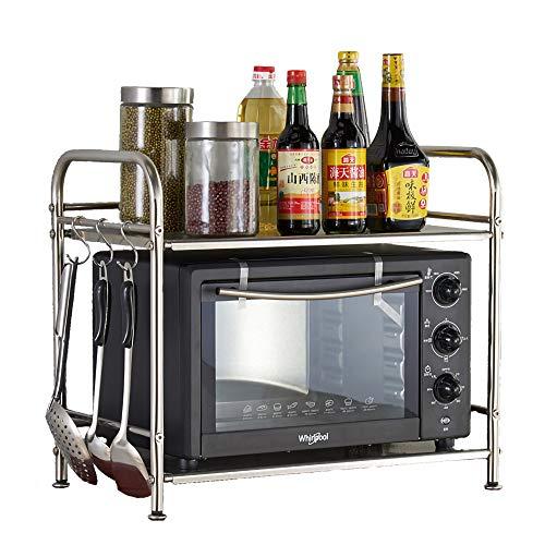 ZMW Kitchen Shelf HolderStainless Steel Microwave Oven RackDouble Deck Oven StandSpices RackKitchen Bathroom Countertop Organizer RackSingle Layer  40cm