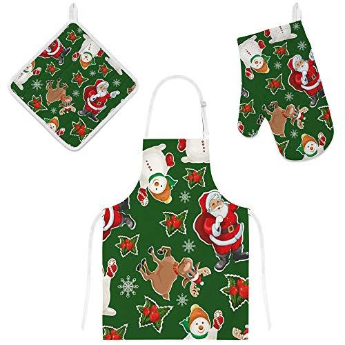 Kuizee Kitchen Apron Set 3 Pcs Cartoon Christmas Santa Snowman Reindeer Green Microwave Oven Glove Insulation Pads Apron Oven Mitts