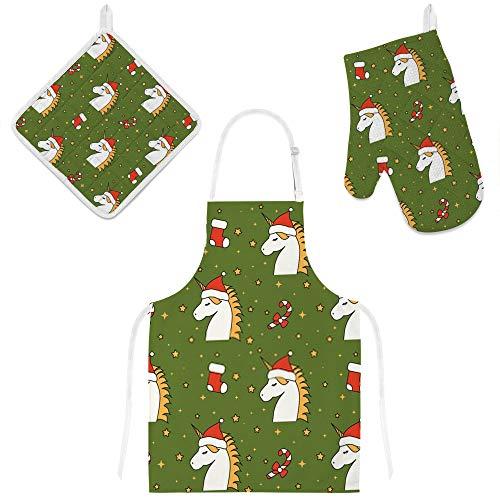 Kuizee Kitchen Apron Set 3 Pcs Cartoon Christmas Unicorn Santa Green Microwave Oven Glove Insulation Pads Apron Oven Mitts