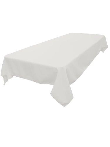 LA Linen Polyester Poplin Rectangular Tablecloth White 60 x 84