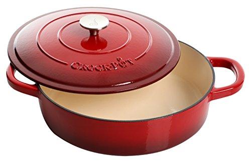 Crock Pot Artisan Enameled Cast Iron 5-Quart Braiser Pan Scarlet Red