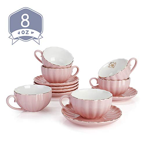 Amazingware Royal Tea Cups and Saucers with Gold Trim and Gift Box British Coffee Cups Porcelain Tea Set Set of 6 8 oz- Pink