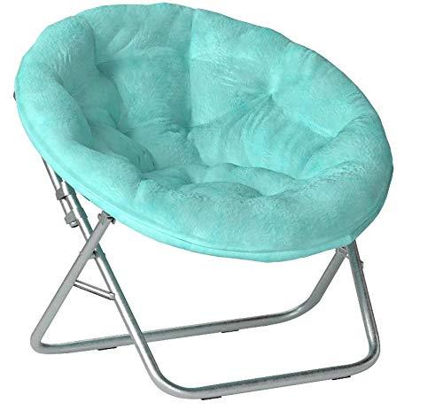 Mainstays Faux-Fur Saucer Chair Multiple Colors Aqua Wind