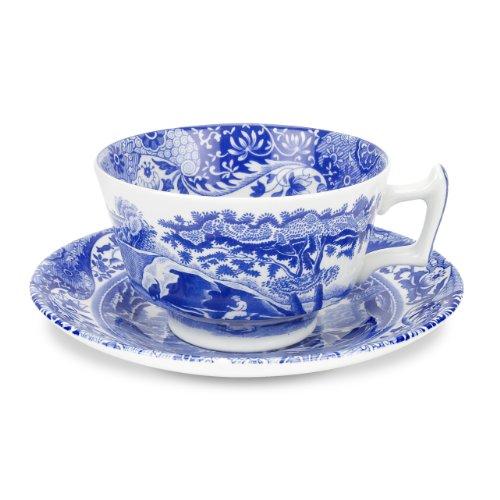 Spode Blue Italian Teacup and Saucer Set of 4