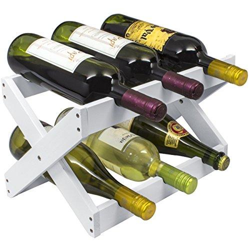 Sorbus Bamboo Foldable Countertop Wine Rack 6-bottles White