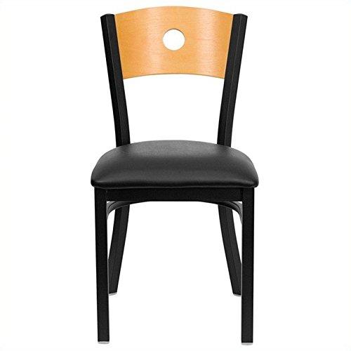 Flash Furniture HERCULES Series Black Circle Back Metal Restaurant Chair - Natural Wood Back Black Vinyl Seat