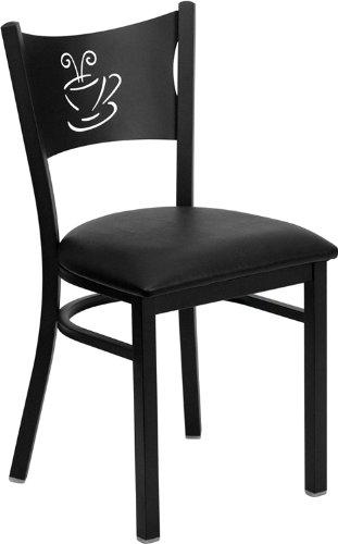 Flash Furniture HERCULES Series Black Coffee Back Metal Restaurant Chair - Black Vinyl Seat
