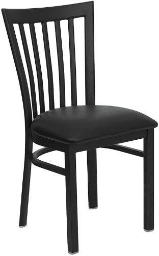 Flash Furniture HERCULES Series Black School House Back Metal Restaurant Chair - Black Vinyl Seat