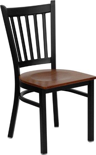 Flash Furniture HERCULES Series Black Vertical Back Metal Restaurant Chair - Cherry Wood Seat