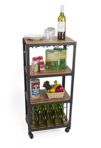 Mind Reader Mobile Kitchen Cart with Wine Rack and Stemware Storage Black