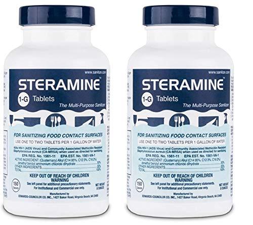 Steramine Sanitizing Tablets For Sanitizing Food Contact Surfaces Kills E-Coli HIV Listeria 1-G 150 Sanitizer Tablets per Bottle Blue Pack of 2 Bottles