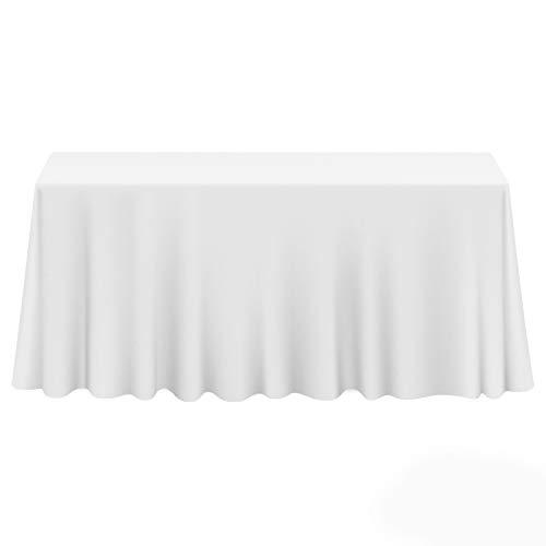 Lanns Linens - 10 Premium 90 x 156 Tablecloths for WeddingBanquetRestaurant - Rectangular Polyester Fabric Table Cloths - White
