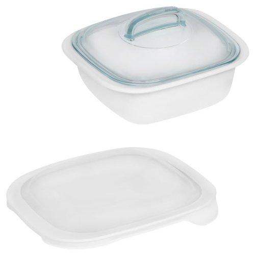 Corelle Bake Serve Store 15-qt Square Bakeware Dish w Glass Plastic Covers