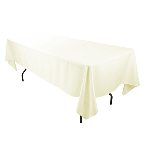 E-TEX 60x126-Inch Polyester Rectangular Tablecloth Ivory