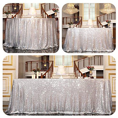 PartyDelight Sequin Tablecloth Rectangular 50x80 Silver