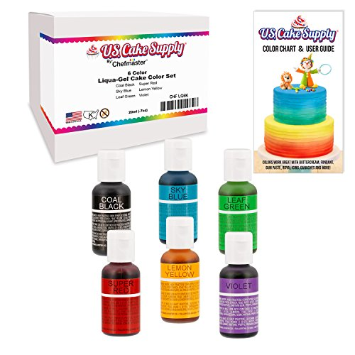 6 Color Cake Food Coloring Liqua-Gel Decorating Baking Primary Colors Set - US Cake Supply 75 fl Oz 20ml Bottles Primary Popular Colors