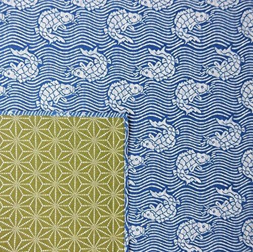 FUROSHIKI- Japanese Traditional Wrapping  Reversible Carp BlueMoss green