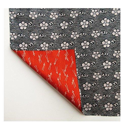 FUROSHIKI- Japanese Traditional Wrapping  Reversible Plum Pine  Black  Orange