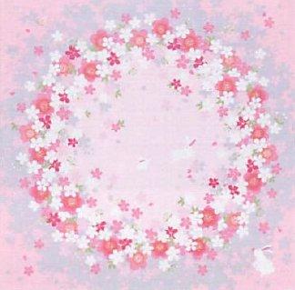 FUROSHIKI Japanese Wrapping Cloth Cherry blossom circleRabbit