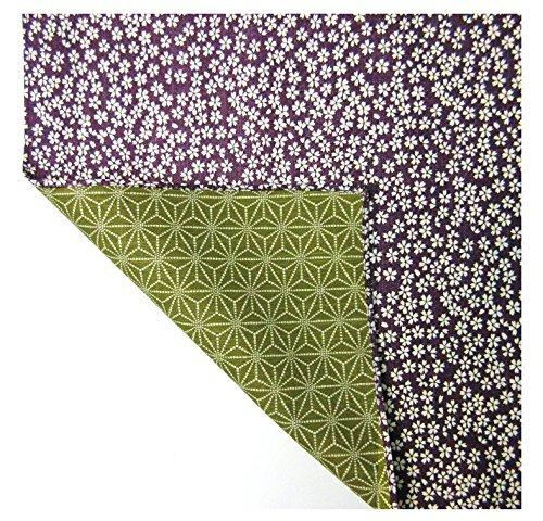 FUROSHIKI- Wrapping Cloth  Reversible Cotton Sakura x Flax ornament PurpleGreen by Yu-soku
