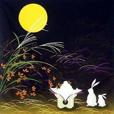 Japanese 100 Cotton 1975 Otsukimi Moon Rabbit Furoshiki Fabric Wrapping Cloth