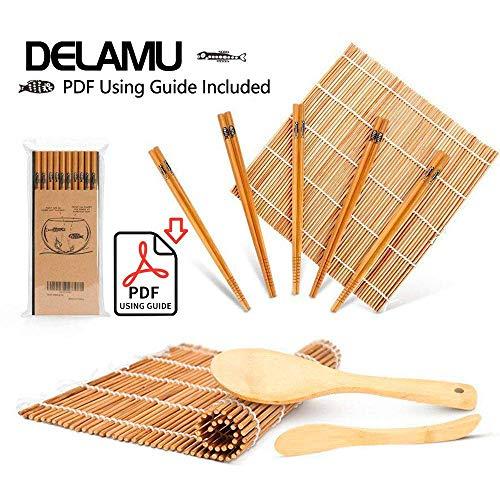 Sushi Making Kit Bamboo Sushi Mat Including 2 Sushi Rolling Mats 5 Pairs of Chopsticks 1 Paddle 1 Spreader 1 Beginner Guide PDF Roll On Beginner Sushi Kit