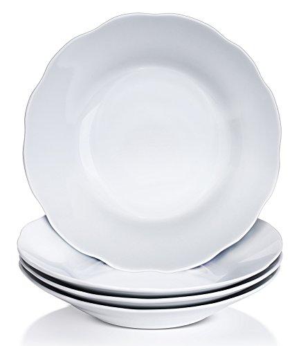 YHY 9-inch15oz Porcelain Scallop Soup Bowls White PastaSalad Bowl Set Set of 4