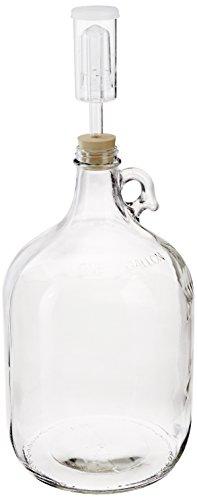 Home Brew Ohio Glass Wine Fermenter Includes Rubber Stopper and Airlock 1 gallon Capacity