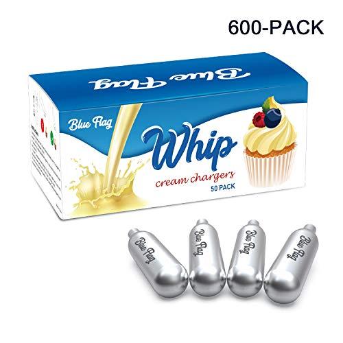 BLUE FLAG Whipped Cream Chargers N2O Nitrous Oxide 8-Gram Cartridge for Whipper Whipped Cream Dispenser 600 Packs