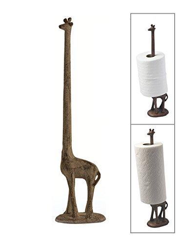 Paper Towel Holder or Free Standing Toilet Paper Holder- Cast Iron Giraffe Paper Holder - Versatile and Decorative Bathroom Toilet Paper Holder or Stand Up Paper Towel Holder - Rust Brown by Comfify