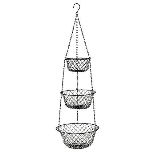 3 Tier Hanging BasketStorage Fruits Vegetables Organizer for Kitchen HomeBlack