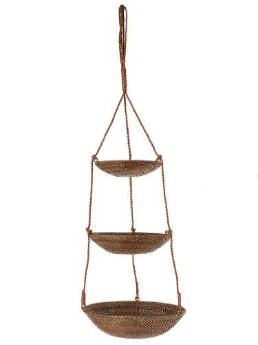 KOUBOO 3-Tier Hanging Basket in Rattan-Nito Brown