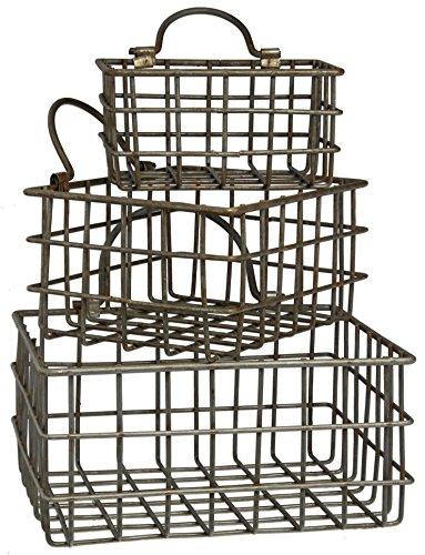 Set of Honey Me Metal Rectangular Hanging Baskets in 3 Sizes