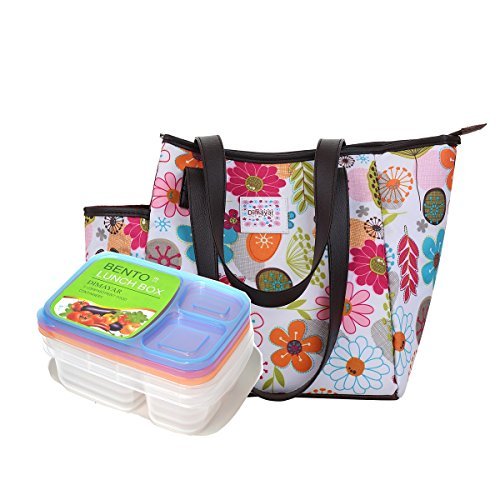 Bento Lunch Box 3 Pieces 1 Insulated Lunch Bag by Dimayar Lunch Bags for Women Insulated Bento Lunch BagFull Zipper Closure Lunch Bags
