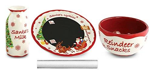 KOVOT Santa Message Plate Set - Chalkboard Plate Mini Milk Jug Mini Snack Bowl Chalk Stick